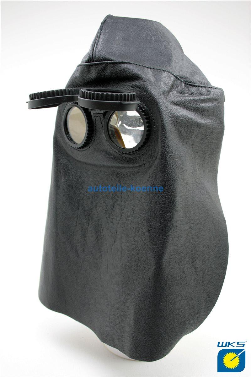 Lederkopfhaube mit Klappbrille hinten offen aus Vollleder EN166